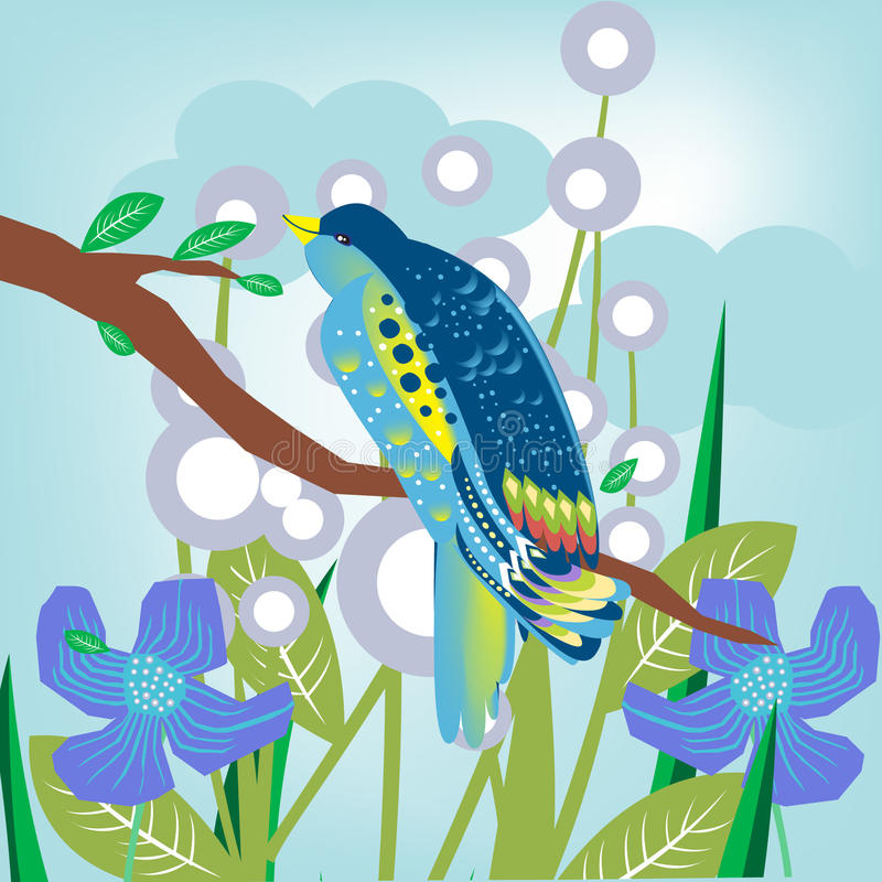 Birs in branch with flowers royalty free illustration