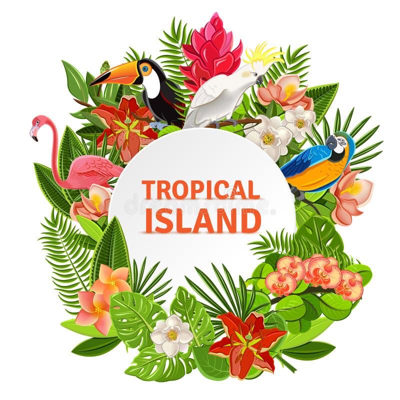 Birs e fiori tropicali illustrazione vettoriale