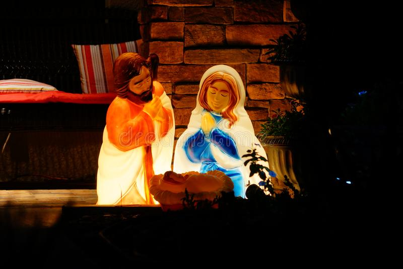 The birth of baby jesus christ statue royalty free stock image