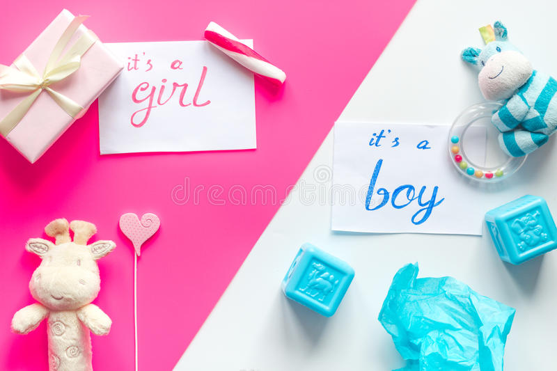Birth child baby shower concept boy or girl top view royalty free stock photo