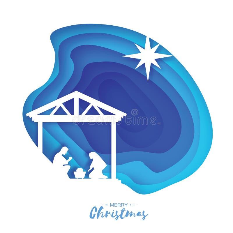 Birth of Christ. Baby Jesus in the manger. Holy Family. Magi. S Star of Bethlehem - east comet. Nativity Christmas vector illustration