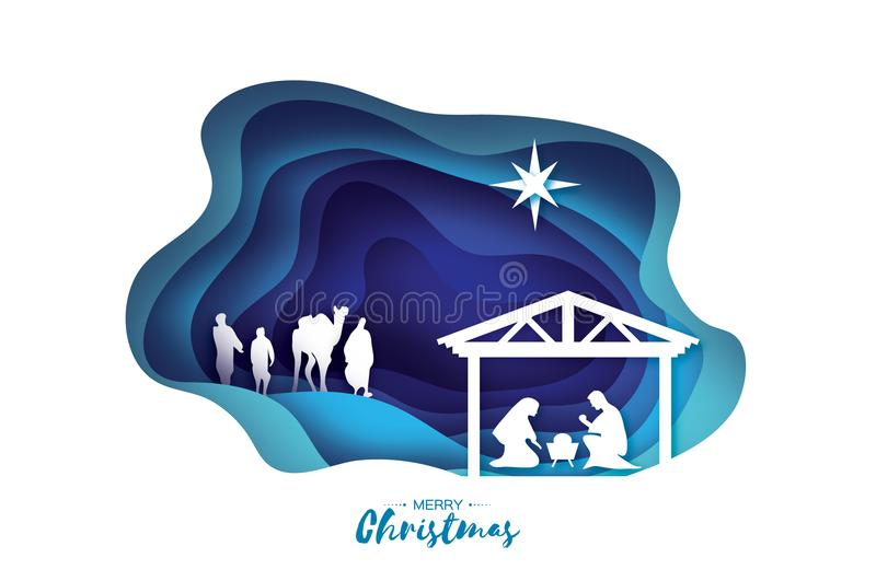 Birth of Christ. Baby Jesus in the manger. Holy Family. Magi. Three wise kings and star of Bethlehem - east comet royalty free illustration