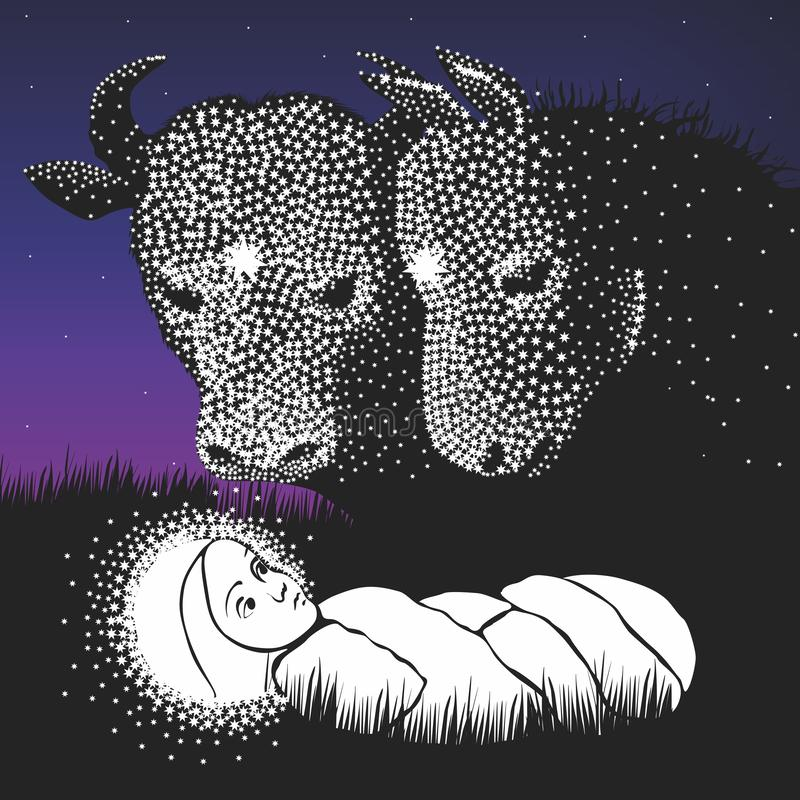 Birth of Christ. A donkey and a cow in the stable where Christ was born. Vector format
