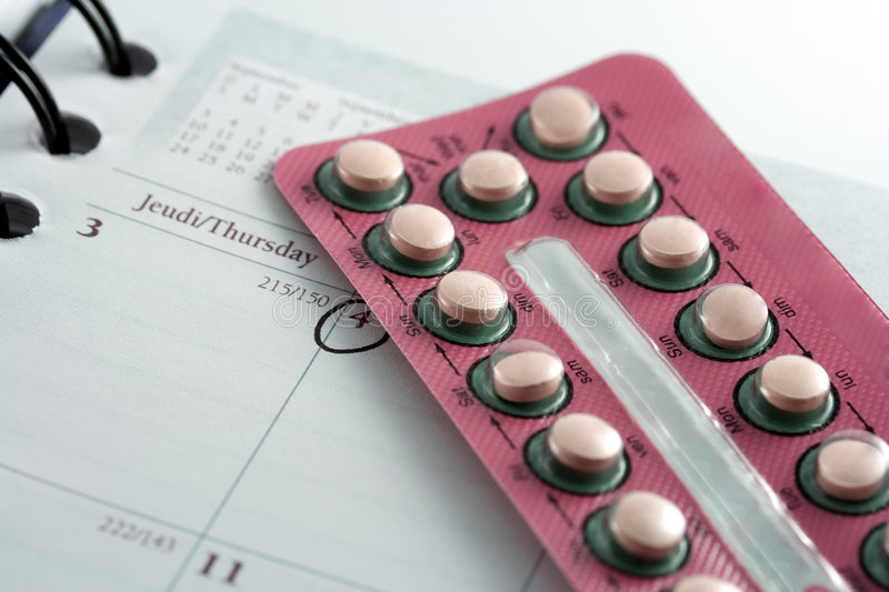 Birth control pills stock photography