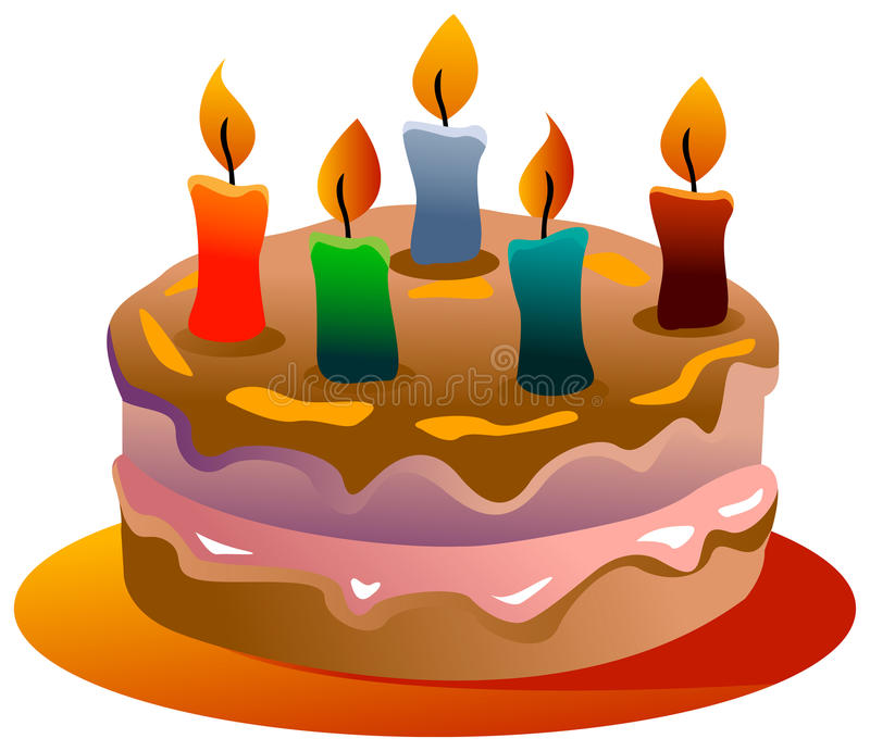 Birth day cake. Illustrated colorful birth day cake image royalty free illustration