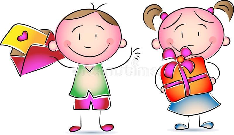 Birth day children. Brush stroke birth day children funny cartoon image royalty free illustration