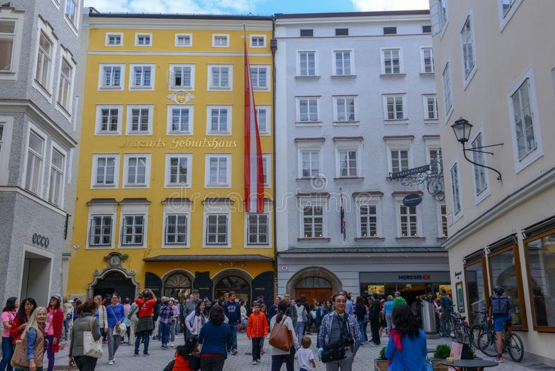 Birth house of Wolfgang Amadeus Mozart in Salzburg, Austria stock images