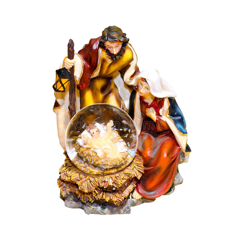Birth of Jesus. Mythical bible scene of Jesus birth with clipping path includedJe royalty free stock photos