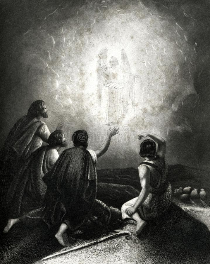 The Angels Appearing to the Shepherds Antique Illustration royalty free illustration
