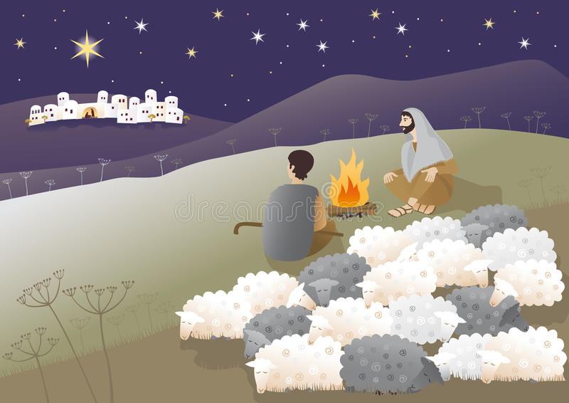 Birth of Jesus in Bethlehem royalty free illustration