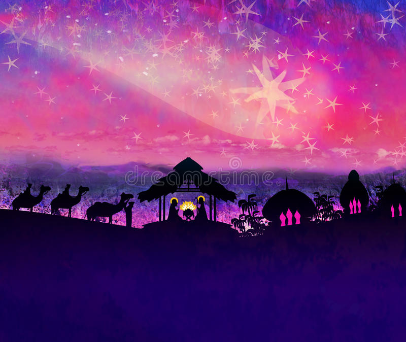 Birth of Jesus in Bethlehem. vector illustration