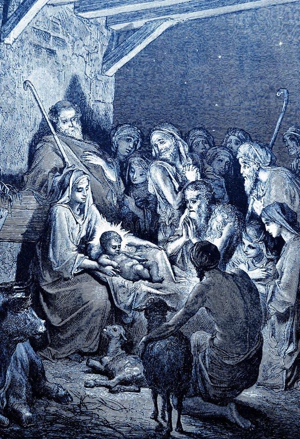 The Birth of Jesus royalty free illustration