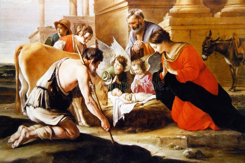 The Birth of Jesus Christ royalty free illustration