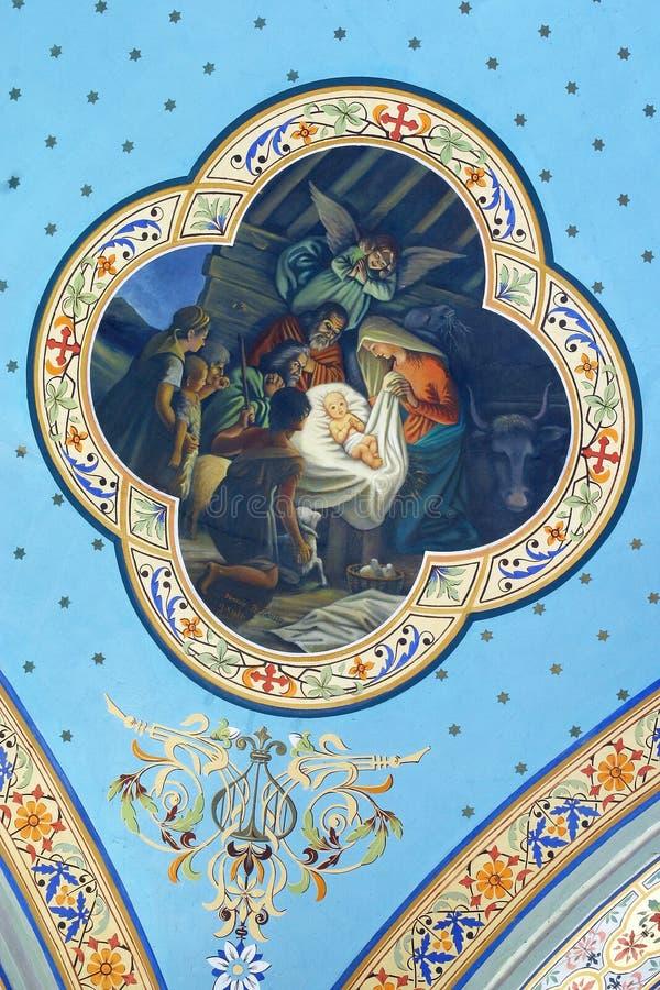 Birth of Jesus, fresco in the church of Helena in Zabok, Croatia. Birth of Jesus, fresco in the parish church of Helena in Zabok, Croatia stock image
