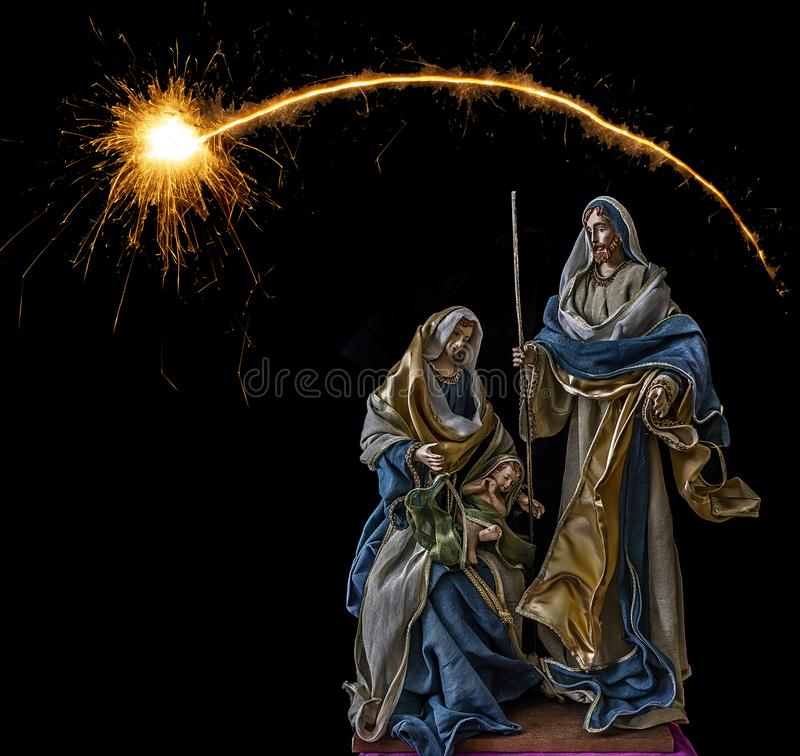 Birth of Jesus with the Virgin Mary and Saint Joseph stock photos