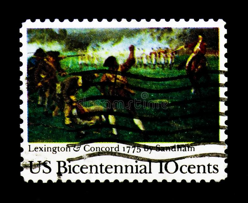 `Birth of Liberty` by Henry Sandham, Lexington-Concord Battle, 200th Anniversary Issue serie, circa 1975. MOSCOW, RUSSIA - NOVEMBER 24, 2017: A stamp printed in royalty free stock image
