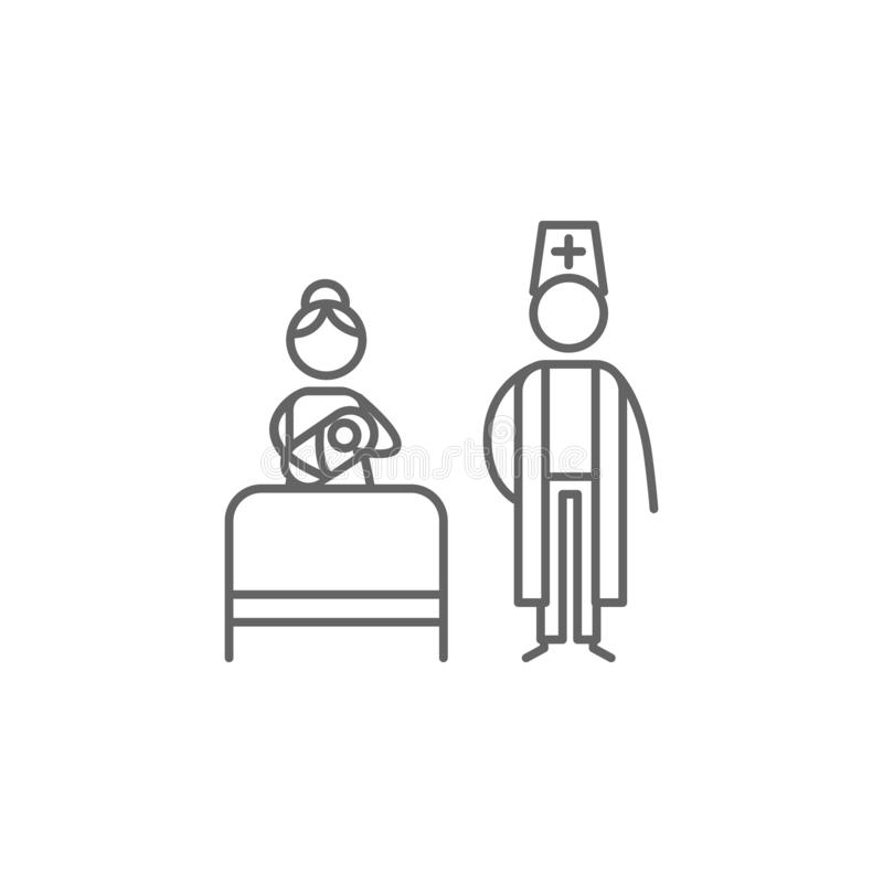 Birth, mom, doctor icon. Element of family life icon. Thin line icon for website design and development, app development. Premium royalty free illustration