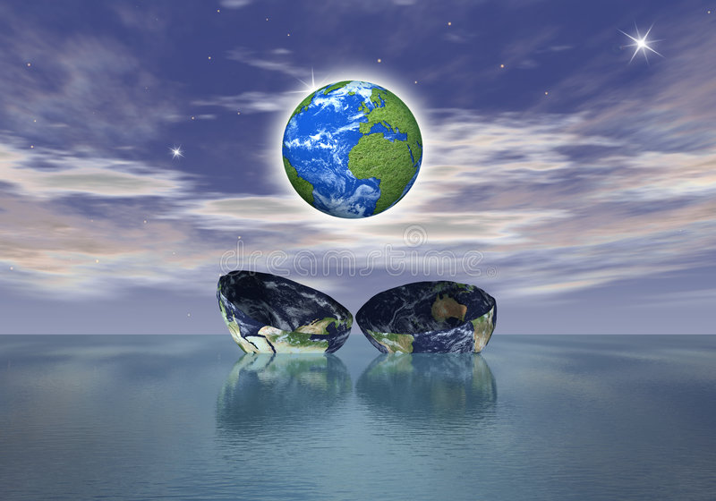 The birth of a new globe over the ocean vector illustration