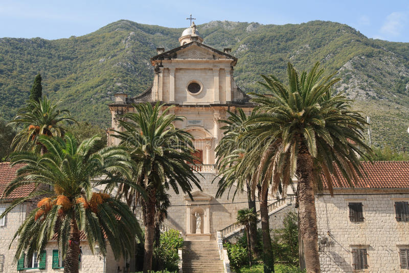 Birth of Our Lady church in Prcanj, Montenegro stock photo