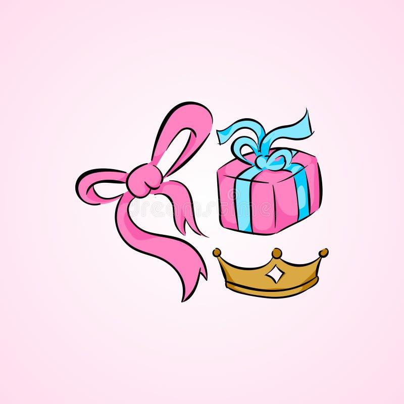 Birthda prezenta i prezent tasiemkowej tasiemkowej kolekci ustalony ilustracyjny wektor royalty ilustracja