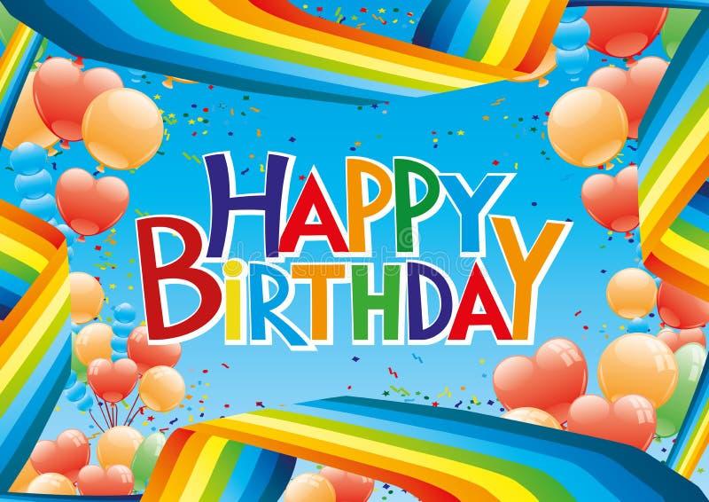 Birthday party banner with rainbow. Birthday party banner with rainbow and balloons vector illustration