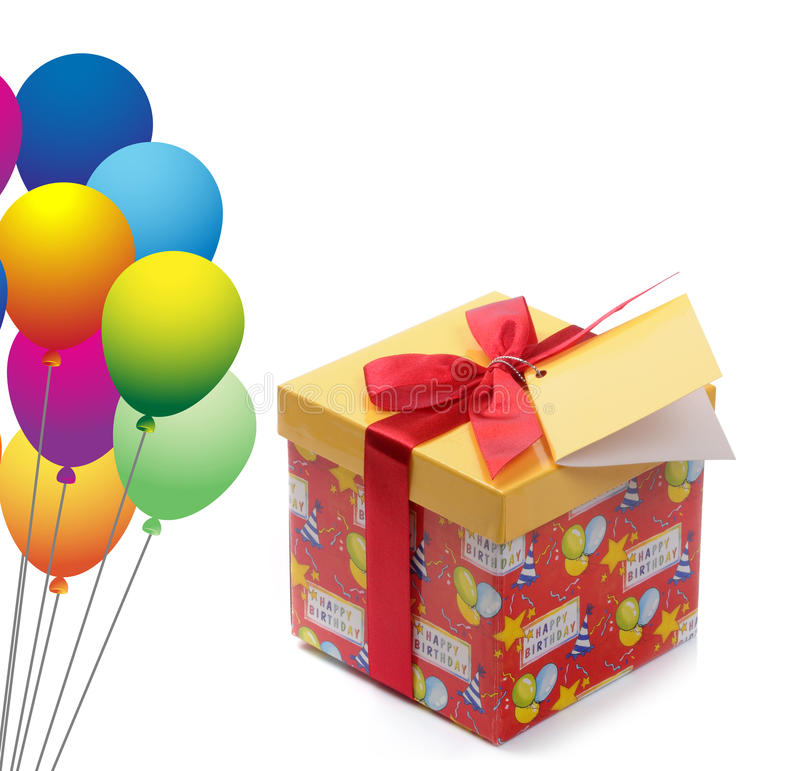 Birthday. Gift box with red ribbon and balloons royalty free stock image