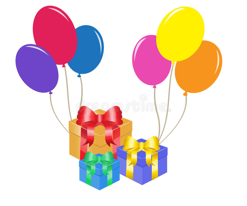 Birthday. Colorful balloons and gift boxes with bows vector illustration