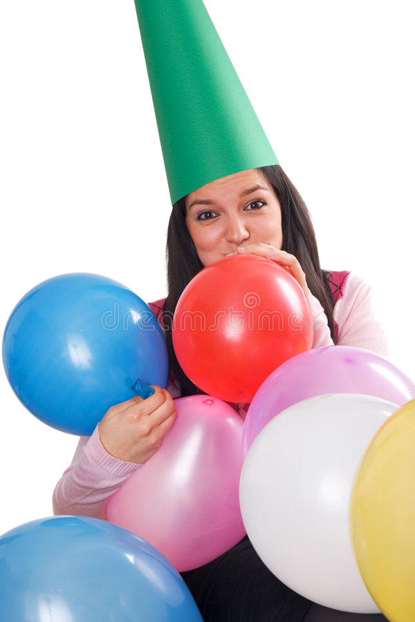 Birthday. Young girl celebrating her birtday stock image