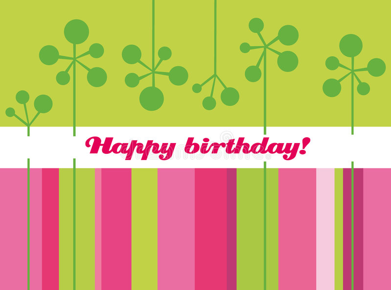 Birthday. Card with floral elements and wishes stock illustration