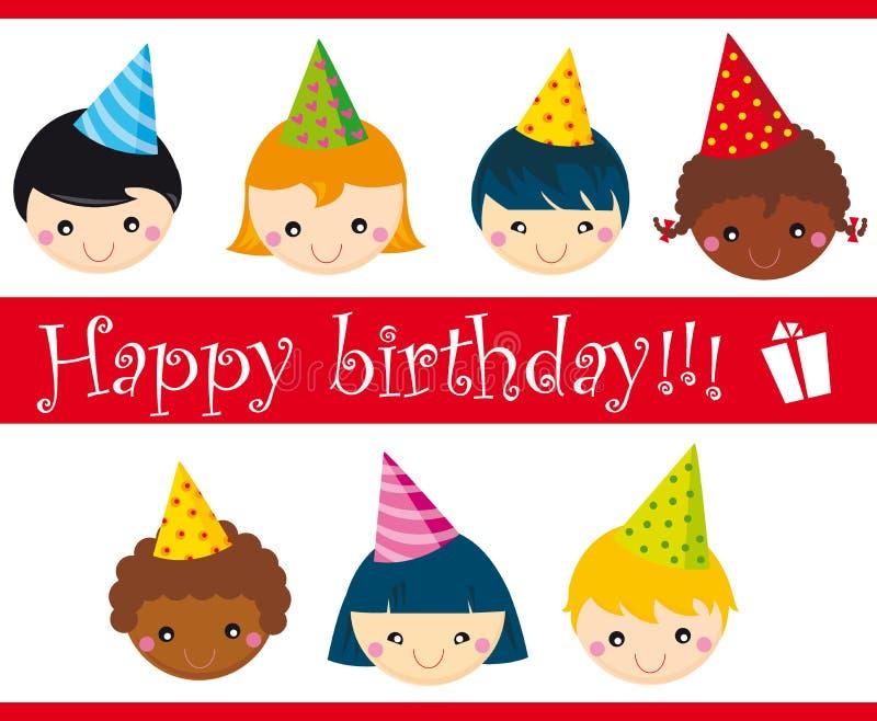 Birthday. Card with different children