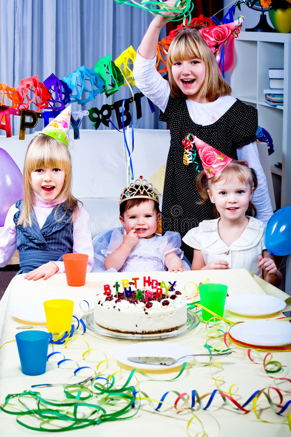 Birthday. Kids celebrating the birthday party royalty free stock photography