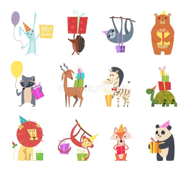 Birthday animals. Holiday happy celebration hare hedgehog bear zebra turtle lion and monkey festive gifts vector cartoon royalty free illustration