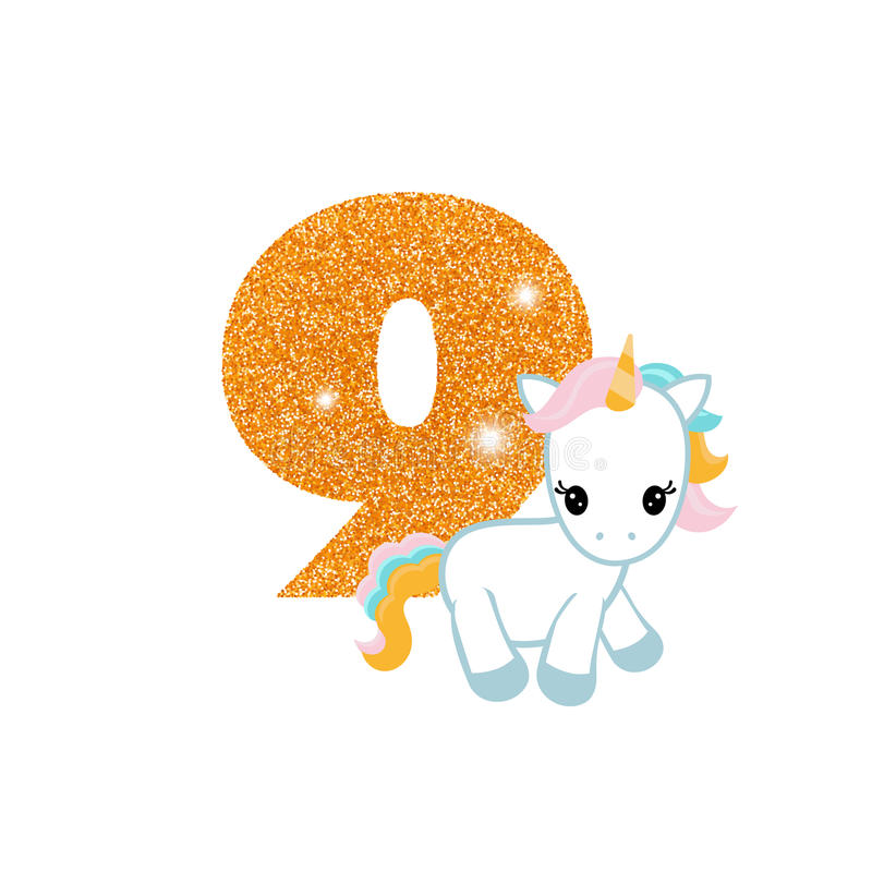 Birthday anniversary number with cute unicorn royalty free illustration