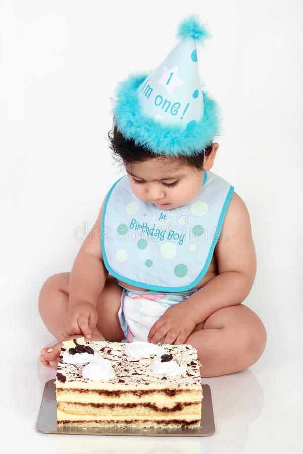 Birthday baby boy. Little baby's first birthday party stock photography