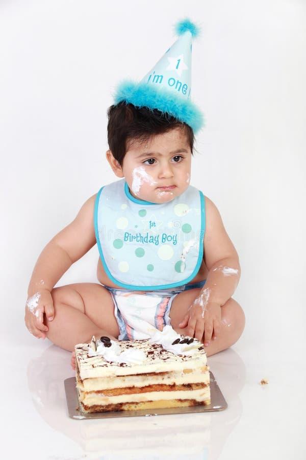Birthday baby boy. Little baby's first birthday party stock photo