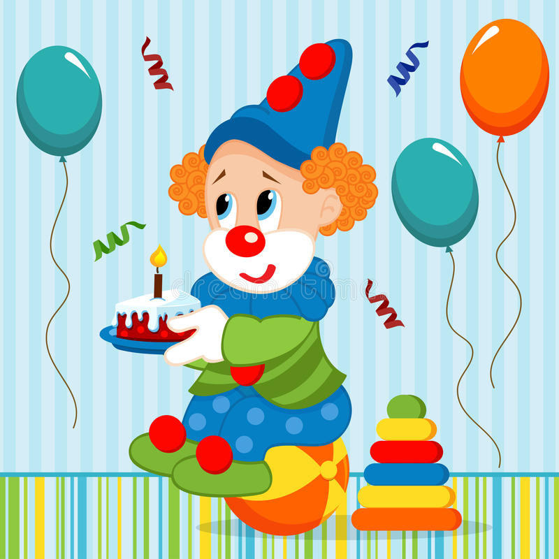 Download Birthday baby, clown stock vector. Illustration of background - 33679665