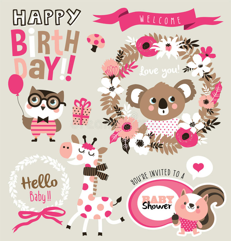 Birthday/baby showerkort royaltyfri illustrationer