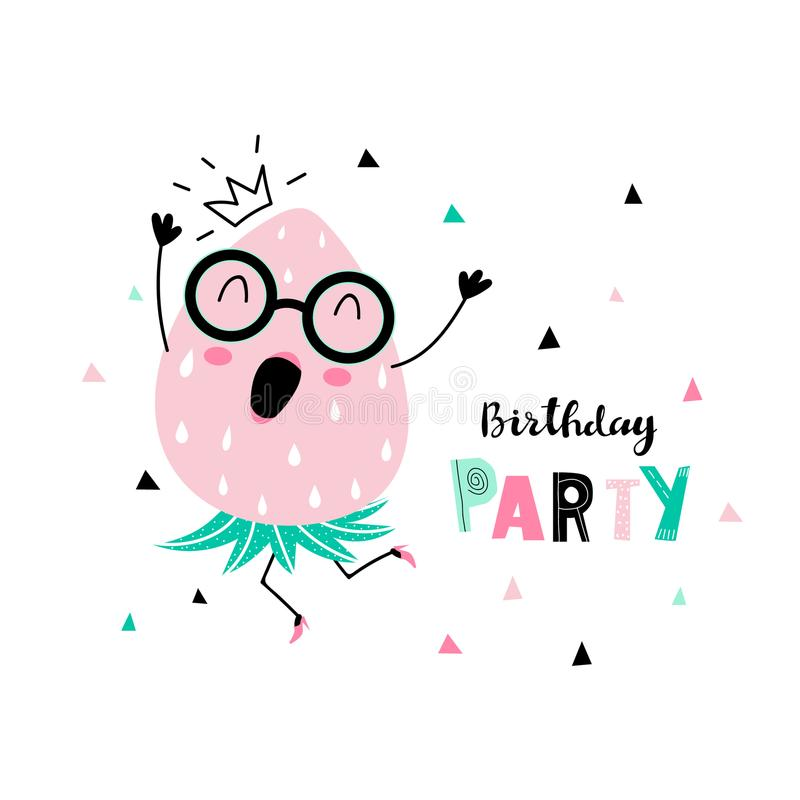 Birthday background with dancing strawberry. Birthday party card with funny dancing strawberry with human face and confetti and inscription - birthday party royalty free illustration