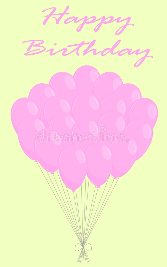Birthday background. With many pink flying balloons vector illustration