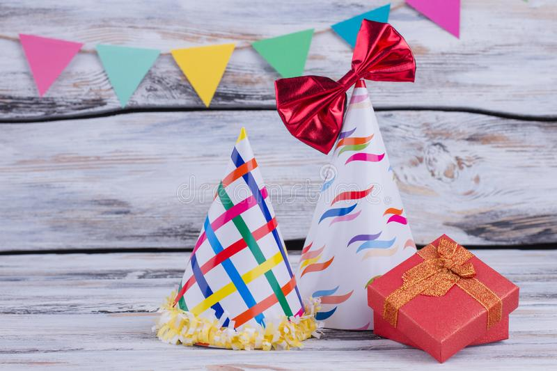 Birthday background with party items. royalty free stock photos