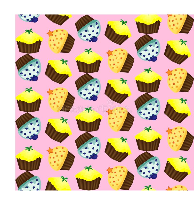 Birthday background. Seamless pattern with cupcakes and muffins. Cute cartoon characters, emoji. Kawaii cupcakes. Birthday background. Seamless pattern with royalty free illustration