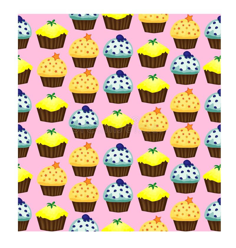 Birthday background. Seamless pattern with cupcakes and muffins. Cute cartoon characters, emoji. Kawaii cupcakes. Birthday background. Seamless pattern with stock illustration