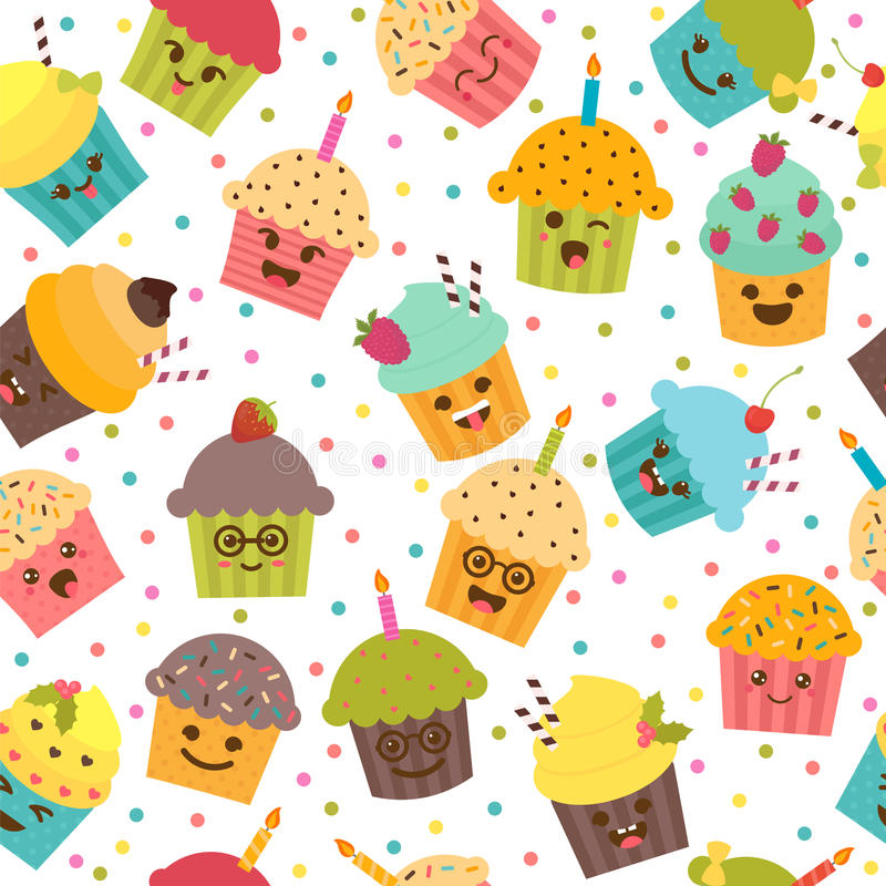 Birthday background. Seamless pattern with cupcakes and muffins. vector illustration