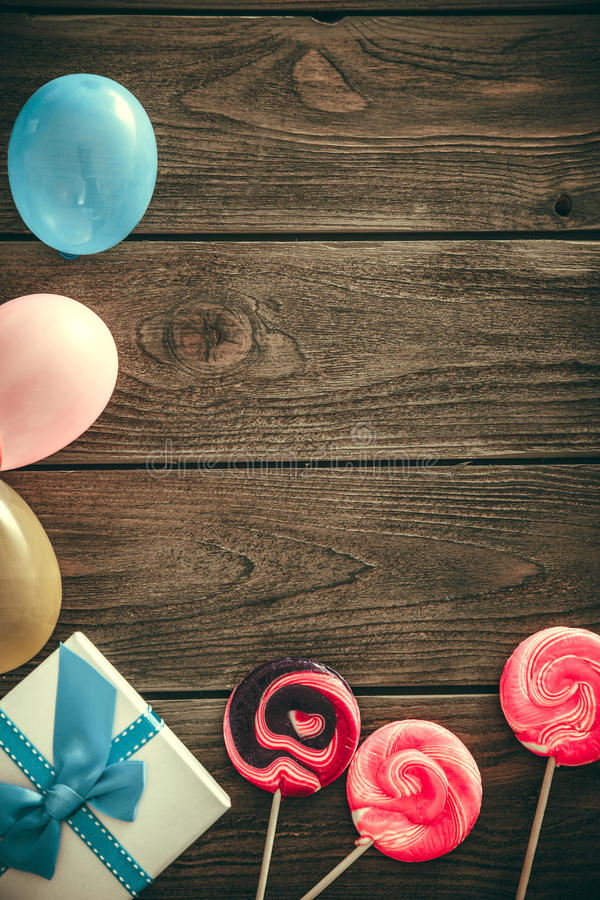 Birthday background on wood royalty free stock photo