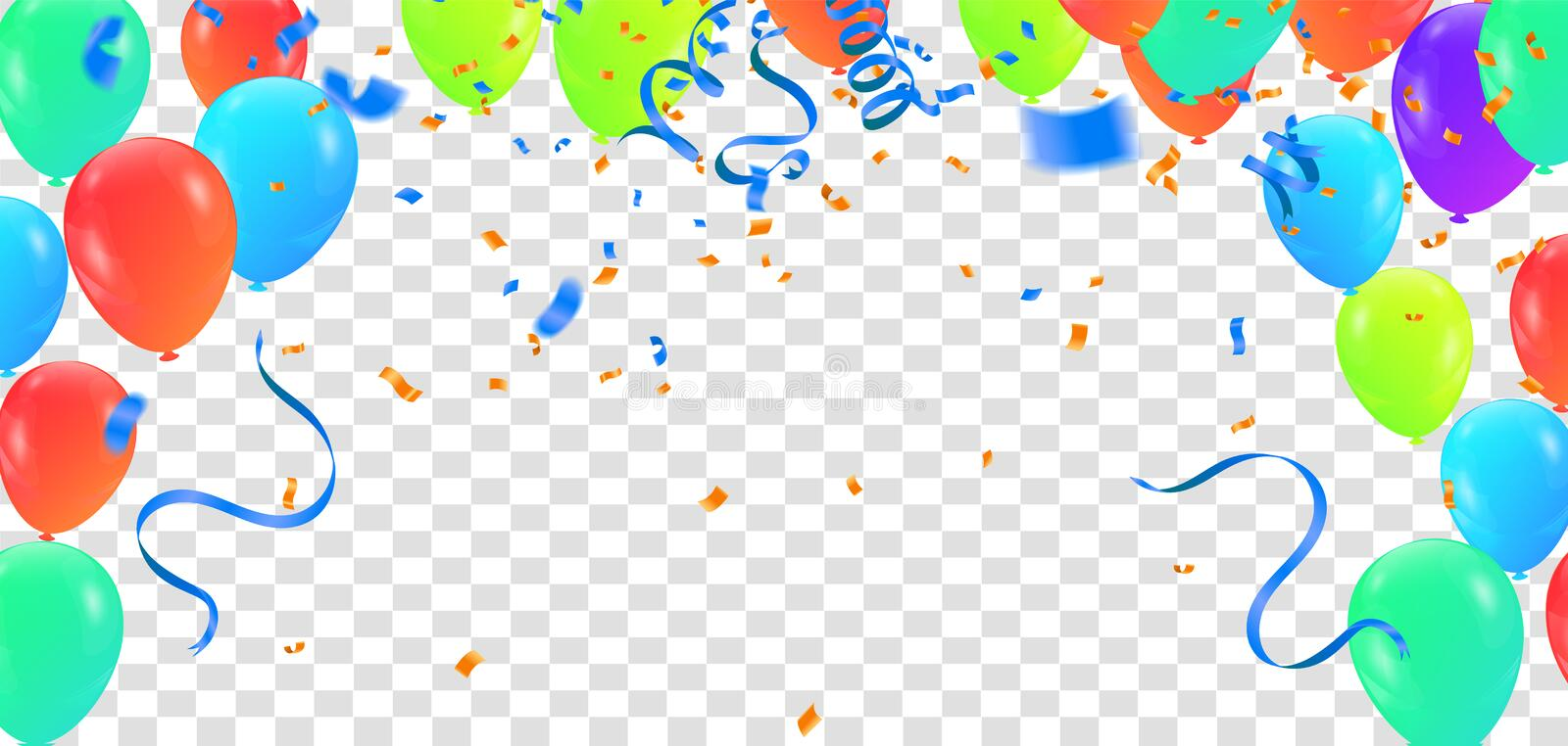Birthday balloon and celebration banner party happy new year celebration festival background. NYE stock illustration