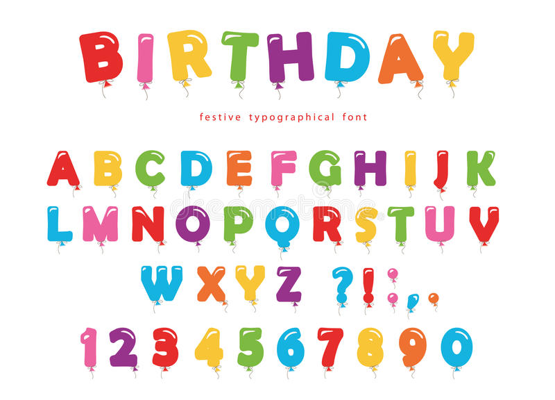 Birthday balloon font. Festive ABC letters and numbers. Colored. Vector EPS10 stock illustration