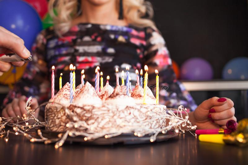 Birthday, balloon party. A young woman is celebrating her birthday. stock photos