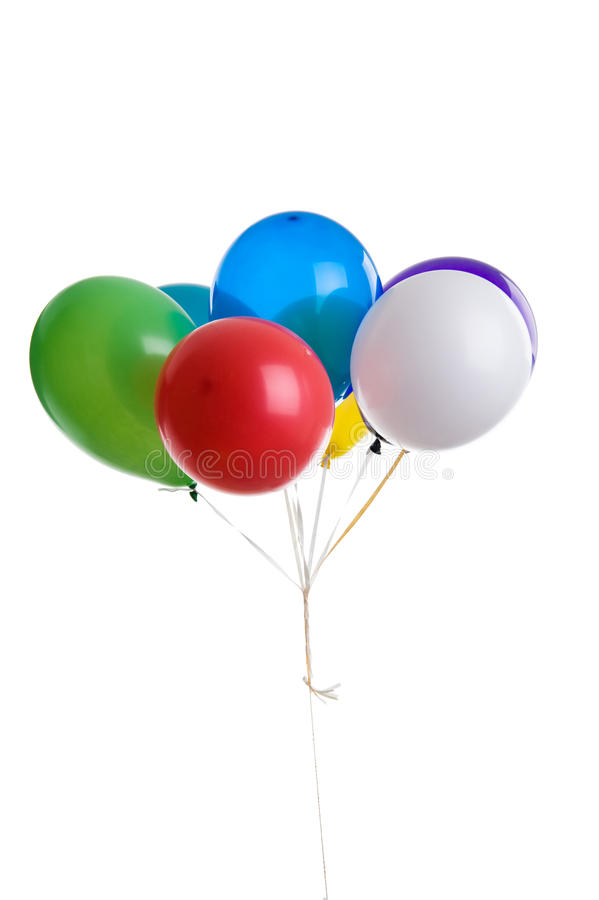 Birthday balloons. Isolated over white background stock photography