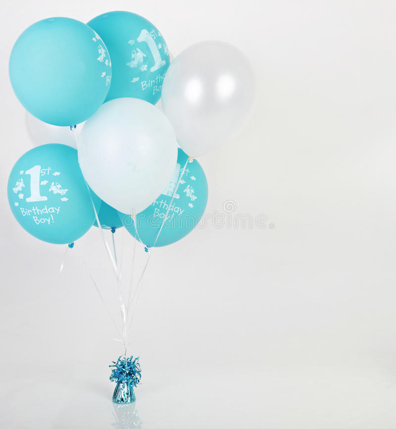 Birthday balloons. Perfect background for placing a birthday baby boy next to the balloons royalty free stock images