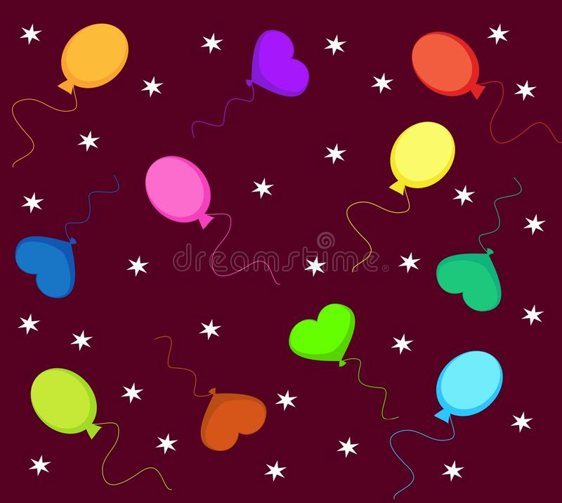Birthday Balloons. Colourfull balloons with star designs royalty free illustration